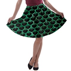 Scales3 Black Marble & Green Marble (r) A Line Skater Skirt
