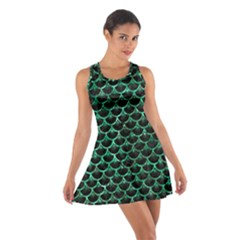 Scales3 Black Marble & Green Marble (r) Cotton Racerback Dress