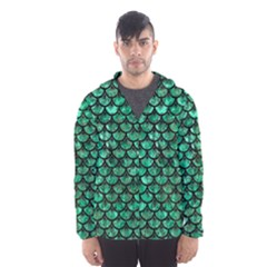 Scales3 Black Marble & Green Marble Hooded Wind Breaker (men)