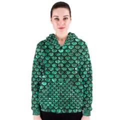 Scales3 Black Marble & Green Marble Women s Zipper Hoodie