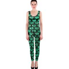 Scales3 Black Marble & Green Marble Onepiece Catsuit