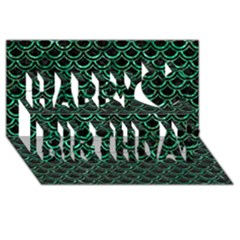 Scales2 Black Marble & Green Marble (r) Happy Birthday 3d Greeting Card (8x4)