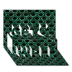 Scales2 Black Marble & Green Marble (r) Get Well 3d Greeting Card (7x5)