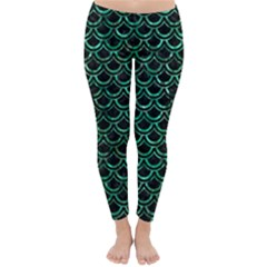 Scales2 Black Marble & Green Marble (r) Classic Winter Leggings