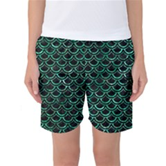 Scales2 Black Marble & Green Marble (r) Women s Basketball Shorts