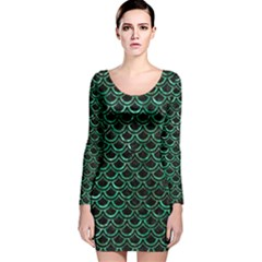 Scales2 Black Marble & Green Marble (r) Long Sleeve Velvet Bodycon Dress