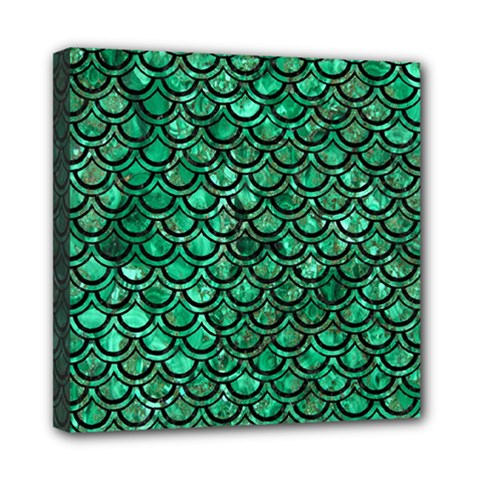 Scales2 Black Marble & Green Marble Mini Canvas 8  X 8  (stretched)