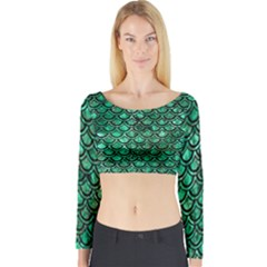 Scales2 Black Marble & Green Marble Long Sleeve Crop Top (tight Fit)
