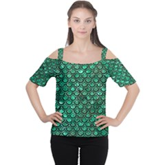 Scales2 Black Marble & Green Marble Cutout Shoulder Tee