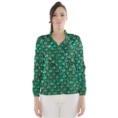 Scales2 Black Marble & Green Marble Wind Breaker (women)
