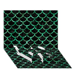 Scales1 Black Marble & Green Marble (r) Love Bottom 3d Greeting Card (7x5)
