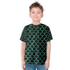Scales1 Black Marble & Green Marble (r) Kids  Cotton Tee