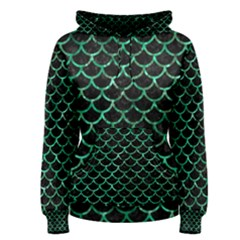 Scales1 Black Marble & Green Marble (r) Women s Pullover Hoodie