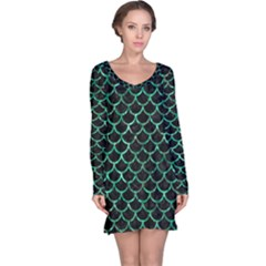 Scales1 Black Marble & Green Marble (r) Long Sleeve Nightdress