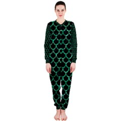 Scales1 Black Marble & Green Marble (r) Onepiece Jumpsuit (ladies)