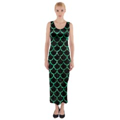 Scales1 Black Marble & Green Marble (r) Fitted Maxi Dress