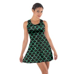 Scales1 Black Marble & Green Marble (r) Cotton Racerback Dress