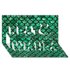 Scales1 Black Marble & Green Marble Best Wish 3d Greeting Card (8x4)