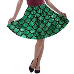 Scales1 Black Marble & Green Marble A Line Skater Skirt