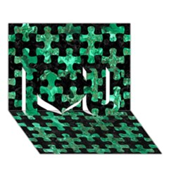 Puzzle1 Black Marble & Green Marble I Love You 3d Greeting Card (7x5)