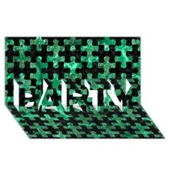 Puzzle1 Black Marble & Green Marble Party 3d Greeting Card (8x4)