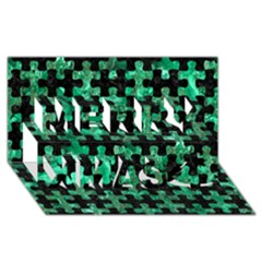 Puzzle1 Black Marble & Green Marble Merry Xmas 3d Greeting Card (8x4)