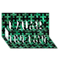 Puzzle1 Black Marble & Green Marble Laugh Live Love 3d Greeting Card (8x4)