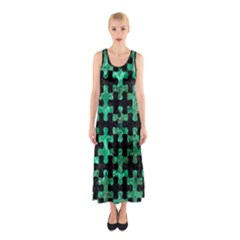 Puzzle1 Black Marble & Green Marble Sleeveless Maxi Dress