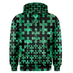 Puzzle1 Black Marble & Green Marble Men s Pullover Hoodie