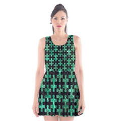 PUZ1 BK-GR MARBLE Scoop Neck Skater Dress