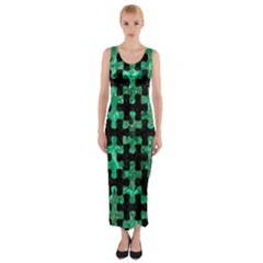 Puzzle1 Black Marble & Green Marble Fitted Maxi Dress