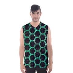 Hexagon2 Black Marble & Green Marble (r) Men s Basketball Tank Top