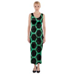 Hexagon2 Black Marble & Green Marble (r) Fitted Maxi Dress