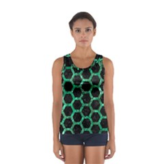Hexagon2 Black Marble & Green Marble (r) Sport Tank Top
