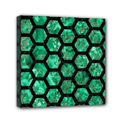 Hexagon2 Black Marble & Green Marble Mini Canvas 6  X 6  (stretched)