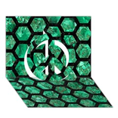 Hexagon2 Black Marble & Green Marble Peace Sign 3d Greeting Card (7x5)