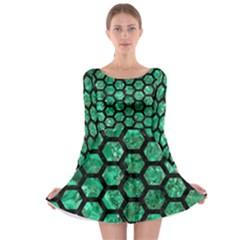 Hexagon2 Black Marble & Green Marble Long Sleeve Skater Dress