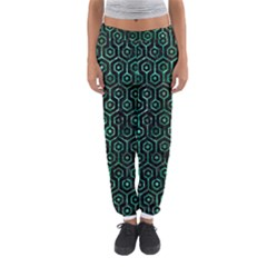 Hexagon1 Black Marble & Green Marble (r) Women s Jogger Sweatpants