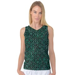 Hexagon1 Black Marble & Green Marble (r) Women s Basketball Tank Top