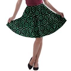 HXG1 BK-GR MARBLE (R) A-line Skater Skirt