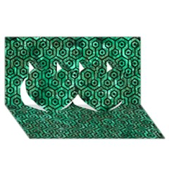 Hexagon1 Black Marble & Green Marble Twin Hearts 3d Greeting Card (8x4)