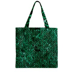 Hexagon1 Black Marble & Green Marble Zipper Grocery Tote Bag