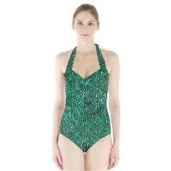 HXG1 BK-GR MARBLE Women s Halter One Piece Swimsuit