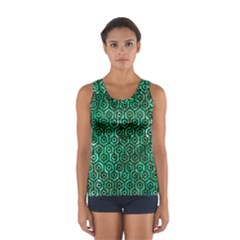 Hexagon1 Black Marble & Green Marble Sport Tank Top