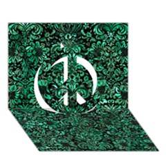 Damask2 Black Marble & Green Marble (r) Peace Sign 3d Greeting Card (7x5)
