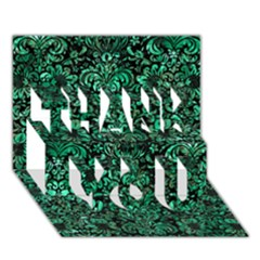 Damask2 Black Marble & Green Marble (r) Thank You 3d Greeting Card (7x5)