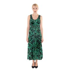 Damask2 Black Marble & Green Marble (r) Sleeveless Maxi Dress