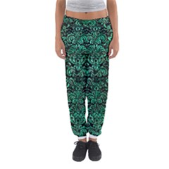Damask2 Black Marble & Green Marble (r) Women s Jogger Sweatpants