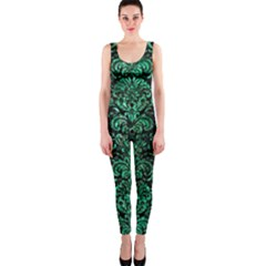 Damask2 Black Marble & Green Marble (r) Onepiece Catsuit