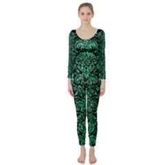 Damask2 Black Marble & Green Marble (r) Long Sleeve Catsuit